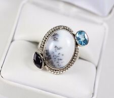 Picture Agate Black Onyx & Topaz Gemstone 925 Sterling Silver Ring 7.25