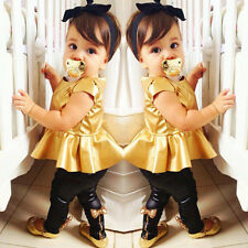 New Fashion Kids Baby Girls Shirt Dress + Legging Pants Set Clothes Outfits