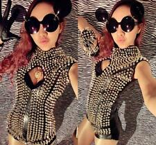 Lady Womens Rivet Spike Studded Bodycon Clubwear Party Dancer Jumpsuits Rompers