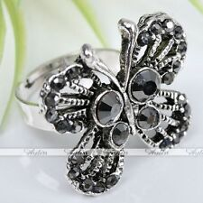 1pc Womens Black Rhinestone Crystal Butterfly Finger Ring Adjustable Gift US 7