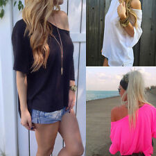 Plus Size Women Off-shoulder Loose Short Sleeve Chiffon Blouse Tops Summer Shirt