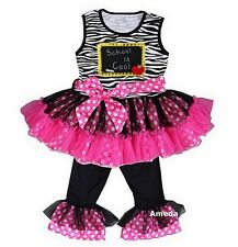 Chalk Board Zebra Pink Dots Ruffled Top Pants Black To School Outfit