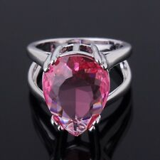 Sz6-Sz10! 18k white gold filled journey nobby pear pink Sapphire ring