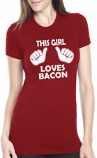 Womens This Girl Loves Bacon TShirt Funny Breakfast Brunch Food Tee For Ladies