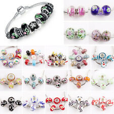 5/10Pcs Lampwork Glass Loose Spacer Beads Charms Fit Cuff Bracelets Jewelry DIY