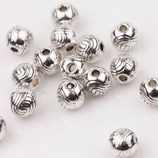Wholesale 15/30Pcs Tibetan Silver Charm Carved Round Spacer Loose Beads DIY 6mm