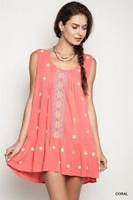 A1491 Umgee Coral Country Bohemian Ethnic Cotton Tunic Shift Dress SZ S M L