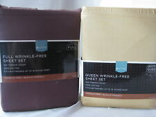 NEW TARGET HOME 325 TC 100% COTTON WRINKLE-FREE QUEEN FULL SHEET SET GOLD BROWN