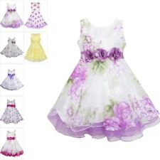 Flower Girl Dress Tulle Bridal Lace With Flower Detailing Purple Size 4-14 Party