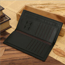 ChicMens Long Casual Leather Black Wallet Pockets Card Clutch Cente Bifold Purse