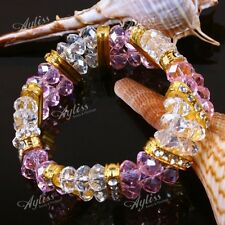 """Womens Faceted Crystal Glass 8mm Beads Woven Bangle Bracelet Gift Stretchy 6-7""""L"""