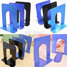 """2X 6.7"""" L-Shaped Bookend Anti-skid Solid Metal Shelf Book Case Holdr Home Office"""