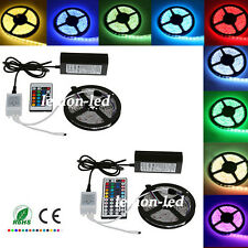 5M 10M 5050 SMD RGB LED Strip Light Lamps Color Changing+24/44Keys+6A Power Set