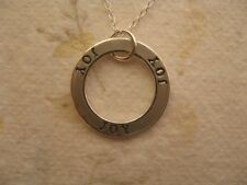 Joy Necklace Sterling Silver Circle Pendant, Modern Engraved Charm