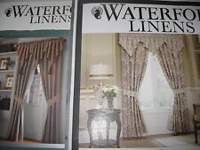 WATERFORD BROGAN / KERRIGAN POLE TOP DRAPERY PAIR W/ TIE BACKS & VALANCE 5PC SET