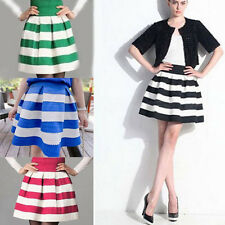 Lady Elegant Trendy Scalloped Stripes Ponte Cotton Skirt Culotte Dresses 4Colors