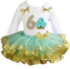 Number 6 Cupcake White Tee Mint Gold Satin Trimmed Tutu Birthday Party Dress