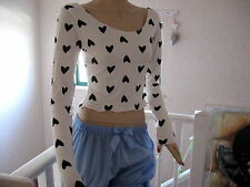 New Black white pink red hearts Extra long  sleeve Party Gift crop top all sizes