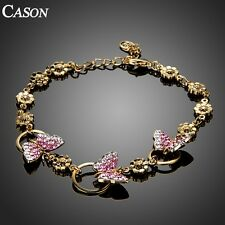 Women Austrian Crystal Pave Butterfly Link Chain Bracelet 18k Gold Plated Gift