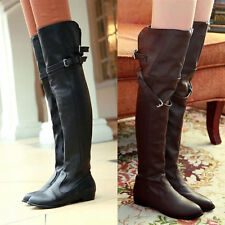 Womens Over Knee Thigh High Flat Boots Manmade Leather Buckle Strappy Boots Size