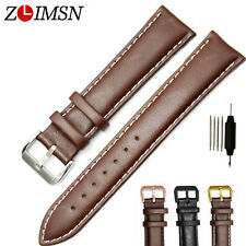 Watch Band Strap Genuine Leather Silver SS Buckle Black Brown Mens Women 12~26mm