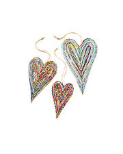 BNWT Namaste Recycled Paper Heart Decorations!!