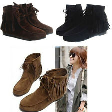 Womens Ladies Faux Suede Fringe Tassel Ankle Boots Bootie Shoes Lace Up Shoes