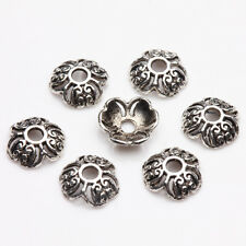100/200Pcs Tibet Silver Flower Ring Bead Caps Jewelry Necklace Bracelet 8mm