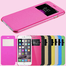 Slim Flip Leather View Window Skin Case Cover for iPhone / Samsung / HTC Phone
