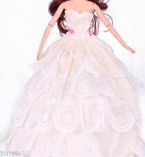 Fashion Handmade Barbie Party White Clothes/Dress/Skirt/Gown For Barbie Doll 26
