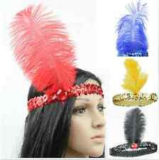 Feather Headband Flapper Sequin Costume Fancy Dress Hair Band Dancing Party J85