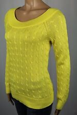 Ralph Lauren Yellow Scoop Round Neck Cable Knit Sweater NWT