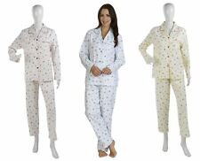 Ladies Flannel Cotton Floral Slenderella Pyjamas Long Sleeve Loungewear PJs Set