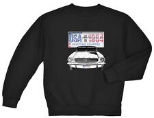 Ford Mustang sweatshirt Men's black ford mustang license plate design 1964