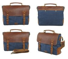 Mens Womens Vintage Canvas Leather Shoulder Messenger Bag Tote Laptop Briefcase
