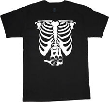 Beer belly t-shirt funny Men's t-shirt drinking halloween skeleton booze drunk
