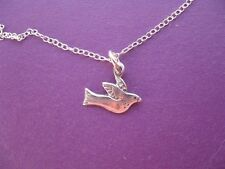 Bird Necklace, Sterling Silver Dove Charm, Dainty Peace Pendant, Simple Jewelry
