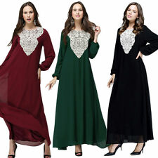 Muslim Lady Lace Kaftan Jilbab Islamic Long Sleeve Abaya Arab Clothes Maxi Dress