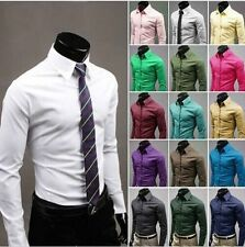 New Mens Fashion Luxury Casual Slim Fit Stylish Long Sleeve Dress Shirts 16Color