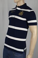 Polo Ralph Lauren Navy White Striped Custom Fit Mesh Shirt Gold Crest NWT