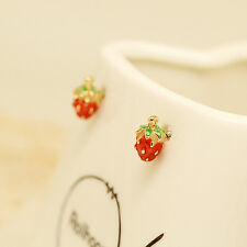 A PAIR FUNKY DOT STRAWBERRY EARRINGS KITSCH RETRO VINTAGE KAWAII EMO FOOD FRUIT