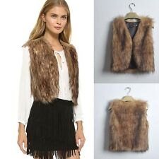 2015 New Women Autumn Winter Vest Sleeveless Outerwear Faux Fur Waistcoat Jacket