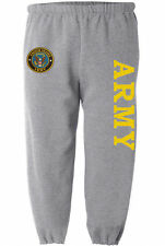 US Army sweatpants Men's size gray yellow army sweats sweat pants track bottoms