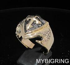 BRONZE MENS CRUSADE RING TEMPLAR CROSS ON DRAGON SHIELD MEDIEVAL KNIGHT ANY SIZE