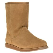 New Womens Emu Tan Spindle Suede Boots Mid-Calf Pull On