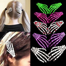 2pcs Zombie Skull Skeleton Hand Bone Claw Hairpins Hair Clips Special Halloween