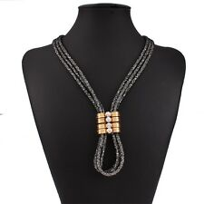 Women Fashion Jewlery Metal Rhiestone Chunky Choker Bib Statement Chain Necklace