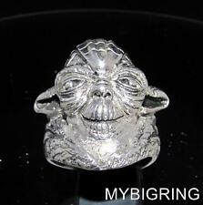 STERLING SILVER MEN'S SCIENCE FICTION RING STAR WARS YODA JEDI MASTER ANY SIZE