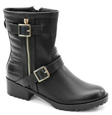 Bolaro Black Lug Sole Biker Combat Quilted Ankle Boots Low Heel Women's shoes