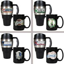 Choose Your NBA Team 20oz Plastic Stainless Steel Travel & 15oz Ceramic Mug Set